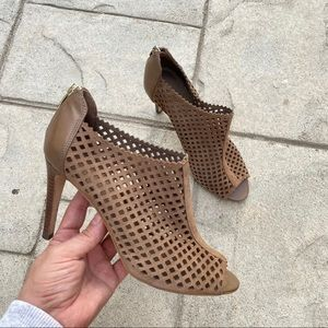 Marc fisher brown open toe ankle booties sz 8